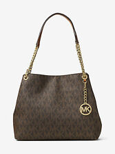 Michael Kors Jet Set Chain Item Large Signature Logo Shoulder Bag (Brown)