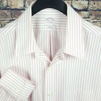 BROOKS BROTHERS Mens Pink White Striped Dress Shirt 16.5-33 Traditional Non Iron