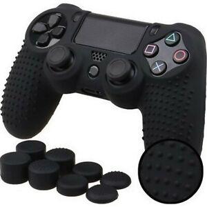 Silicone Grip Black Cover + (8) Multi Thumb Cap Non Slip For PS4 Controller