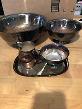 5 Piece set Paul Revere silver plate 6.5 inch & 9 inch bowl sugar creamer set