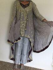 Designer Pakistani engagement/Wedding  Angarkha style Gorgeous Grey Gown New
