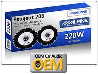 """Peugeot 206cc Front Door speakers Alpine 17cm 6.5"""" car speaker kit 220W Max"""