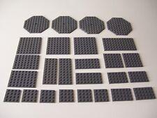 LEGO PLATE DARK STONE GRAY Lot 26 Pieces octagon, 8x8, 6x4,6,8,12, 4x4,8,10,