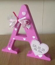 Personalised wooden letter, hand painted, lovely gift keepsake, pink