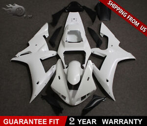 Unpainted White Bodywork Fairing Kit For YAMAHA YZF R1 2002 2003 ABS Drilled NEW