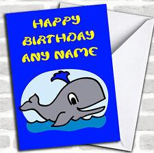 Whale Cartoon Birthday Customised Card