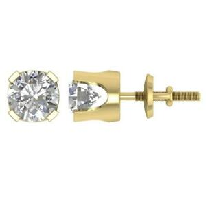 I1 G 0.20 Ct  Round Diamond Solitaire Studs Earrings 14K Yellow Gold 4 Prong Set