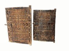 """Set of 2 Dogon Doors w/ Figures  Mali African 24""""h by 16"""" w    # 5"""