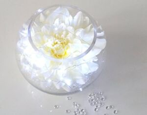 Light up Flower Display Dahlia Head Fish Bowl Vase With Crystals & Battery light