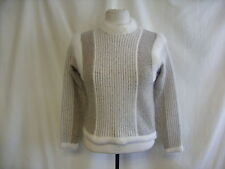 """Ladies Jumper wool cream/beige with neck detail Petite chest 32"""" length 19"""" 1776"""