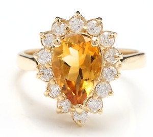 2.70 Carats NATURAL CITRINE and DIAMOND 14K Solid Yellow Gold Ring