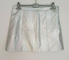 New Look SILVER IRIDESCENT SHIMMER FAUX LEATHER A LINE fully lined MINI SKIRT 16