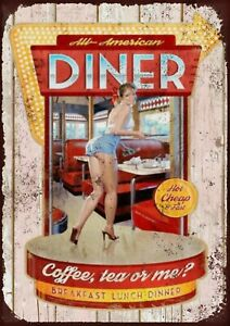 All American diner Metal Wall Sign