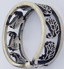 Lotus Flower.925 Silver Ring (Hallmarked)(7 Flowers in a Royal Cartouche)