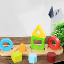 Wooden Educational Toddler Toys Geometric Shapes Block Board Stack Sort 8C