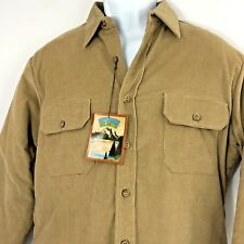 Corduroy Shirt Quilted Vintage London Fog Large Khaki Tan Thick Outdoor Work