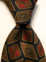 ERMENEGILDO ZEGNA Men's Silk Necktie ITALY Luxury Geometric Blue/Brown/Red EUC