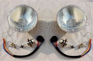 "TRIUMPH VITESSE LUCAS 5.75"" 5 3/4""HEADLAMP HEADLIGHT SET HALOGEN H4 CONVERSION"
