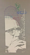 """Buckminster Fuller Poster. Rare Limited Edition, Printed 1983.  Silver 36"""" x 20"""""""