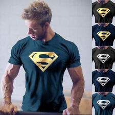 Men NEW Superman Workout Gym T-Shirt Bodybuilding Fitness Muscle Casual Tee