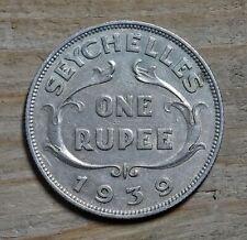 Seychelles One Rupee Coin~1939 George VI~KM#4~.500 Silver 11.6g~VF~#1119
