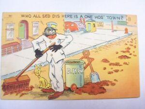 Vintage Black Americana Postcard Man Sweeping Up Horse Poop Street Ally Cat Town