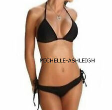 48) BEAUTIFUL MICRO BLACK BIKINI SCRUNCH BUTT  BRAZILIAN POPULAR STYLE 10 12 UK