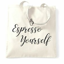Novedad Eslogan Bolso de Café Expresso usted mismo con el logotipo de los medios de comunicación social
