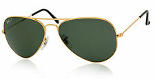 POLARIZED RAY-BAN Metal Aviator Gold Green Sunglasses RB 3025 001/58 58 MM 3O25