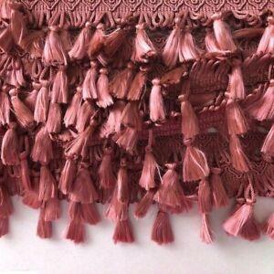 2 Metre Dark Pink Long Tassel trim Sew on Trim Fringe 2 inch 65 mm CT