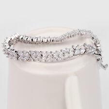 Tennis Diamond Bracelet 14 White Gold Toned Women's Wedding Bracelet Size 7.5