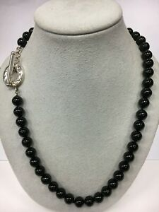 Tiffany & Co. Sterling Silver Toggle Onyx Beads Necklace