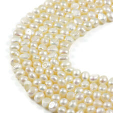 "Freshwater Pearl  7-8mm Cream Pearl Potato Jewellery Making Beads on 15"" 2 St..."
