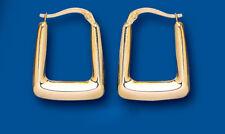 Hoop Earrings Yellow Gold Hoops Handbag Square Creole Hallmarked