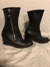 Arche Black Leather Wedge Zippered Boots Size 7-71/2