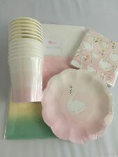 Swan Pack - Tableware Party Pack and RainbowTablecover - Special Occasion,Birthd
