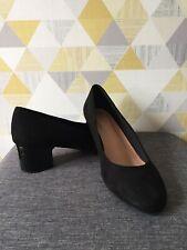 M&S Black Suede Court Shoes Size 6.5 Wide Fit Block Patent Heel