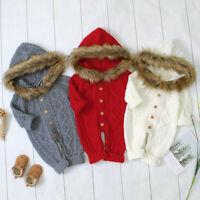 Newborn Baby Girls Boys Cute Winter Warm Knit Fur Romper Outwear Hooded Jumpsuit