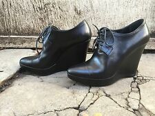 39 JIL SANDER black leather wedge boots booties oxford lace up platform 8.5 9