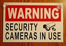 "Warning Security Cameras In Use Sign 8""x12"" New with Suction Cups Surveillance"
