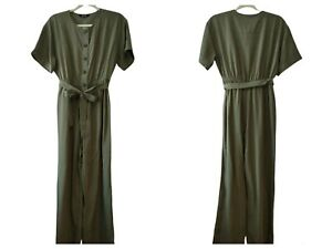Madewell Womens NWT Green Cross Hatch Short Sleeve Belted Jumpsuit Size Small