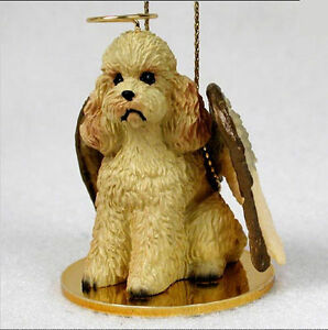 Poodle Ornament Angel Figurine Hand Painted Apricot Sport Cut