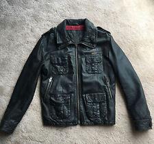 SuperDry Men's Brad Black Leather Coat - Size L £175