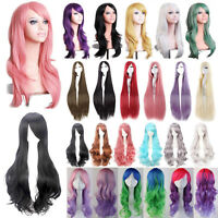 Colorful Rainbow Long Wavy Curly Hair Full Wig 60Cm Fashion Party Anime Cosplay