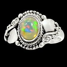 Ethiopian Opal 925 Sterling Silver Ring Jewelry s.8.5 RR68569