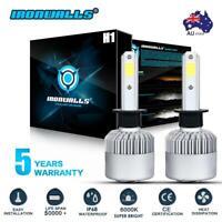 2x H1 80W LED Headlight Globes COB Bulbs Kits Low Beam Replace Xenon Halogen