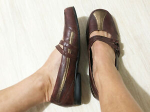 $229 KLOUDS 10.5 MARY JANE flat COMFORT SHOES wide MAHOGANY Bronze LEATHER xcond
