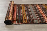 New! Flat-Weave Kilim Geometric All-Over Oriental Runner Rug Wool Hand-Woven 2x7