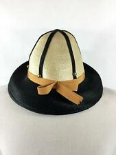 4978d1c868e Vintage Jami Hat Womens Natural Black Straw Gold Grosgrain Ribbon USA Made  Love