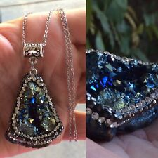 """TITANIUM CRYSTAL GEODE AGATE NECKLACE""+ OTHER NECKLACE CHOICES (free)"
